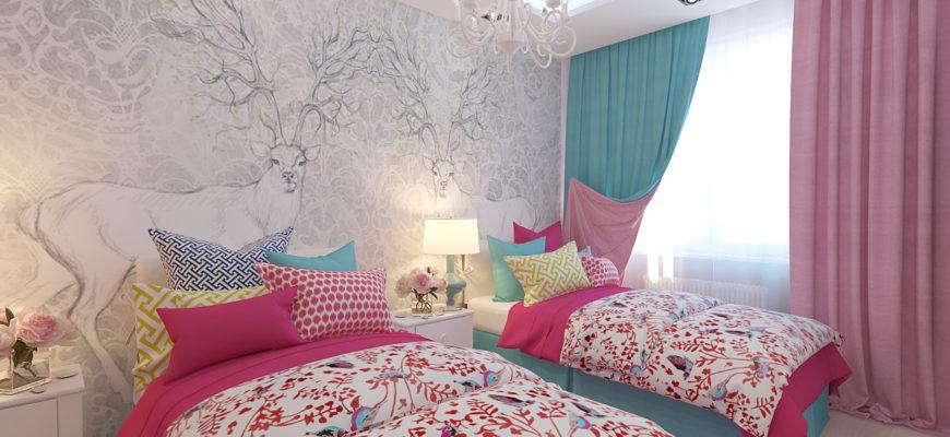 комната для двух девочек 15 кв